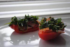 Fyldt peberfrugt og spejlæg